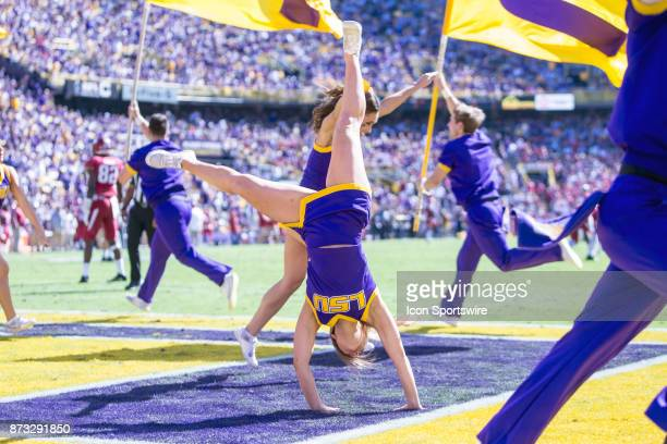 Tigers cheerleaders entertain the crowd during a game between the Arkansas Razorbacks and the LSU Tigers at Tiger Stadium in Baton Rouge Louisiana on...