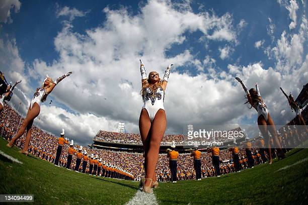 Tigers cheerleaders perform on the field before the Tigers take on the Arkansas Razorbacks at Tiger Stadium on November 25 2011 in Baton Rouge...