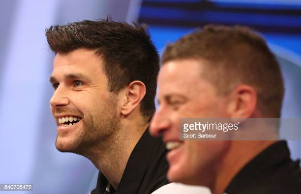 Tigers coach Damien Hardwick and captain Trent Cotchin speak to the media during a Richmond Tigers AFL media opportunity at Fox Sports Studio on...