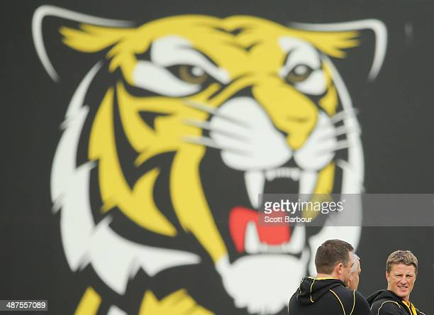 Tigers coach Damien Hardwick looks on during a Richmond Tigers AFL training session at ME Bank Centre on May 1 2014 in Melbourne Australia