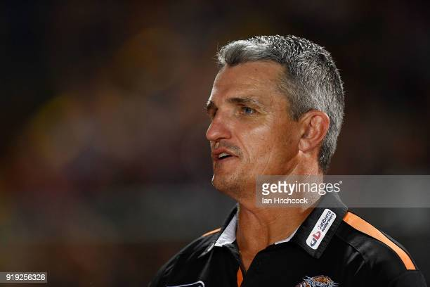 Tigers coach Ivan Cleary looks on before the start of the NRL trial match between the North Queensland Cowboys and the Wests Tigers at Barlow Park on...