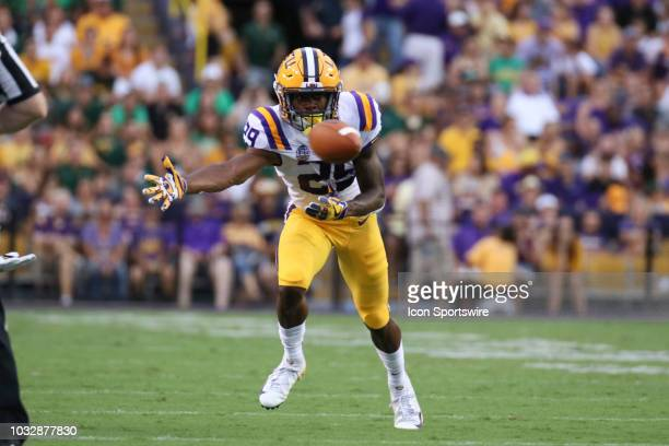 Tigers cornerback Greedy Williams makes a play on the football during the LSU Tigers 310 win over the Southeastern Louisiana Lions on September 08 at...