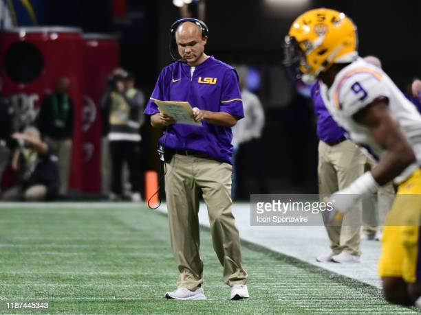 Tigers Defensive Coordinator Dave Aranda during the SEC Championship game between the Georgia Bulldogs and the LSU Tigers on December 07 at...