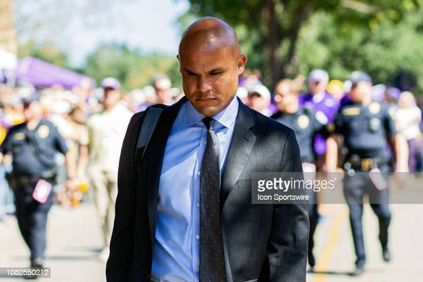 Tigers defensive coordinator Dave Aranda walks down the hill before a game between the LSU Tigers and the Georgia Bulldogs on October 13 at Tiger...