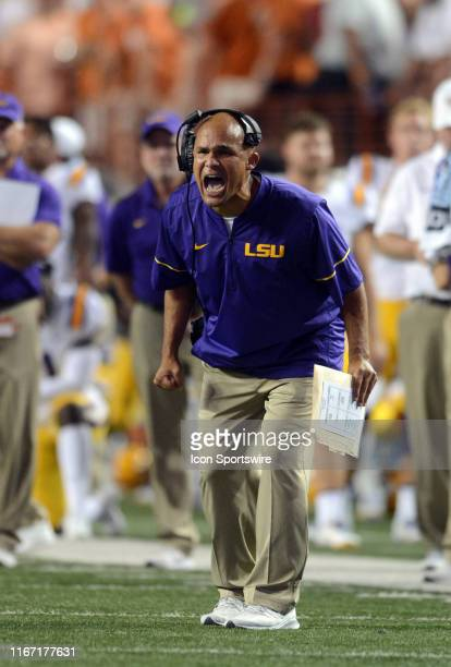 Tigers defensive coordinator Dave Aranda yells instructions during the Texas Longhorns game against the LSU Tigers on September 7 at Darrell K...