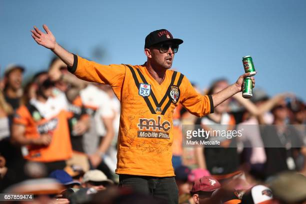 Tigers fan reacts to a decision during the round four NRL match between the Wests Tigers and the Melbourne Storm at Leichhardt Oval on March 26 2017...