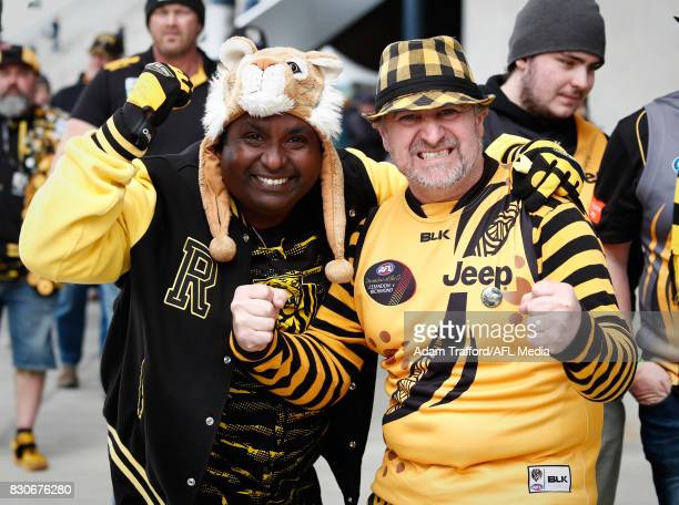 Tigers fans are seen during the 2017 AFL round 21 match between the Geelong Cats and the Richmond Tigers at Simonds Stadium on August 12 2017 in...