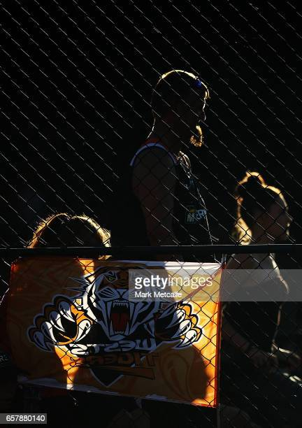 Tigers fans are seen during the round four NRL match between the Wests Tigers and the Melbourne Storm at Leichhardt Oval on March 26 2017 in Sydney...