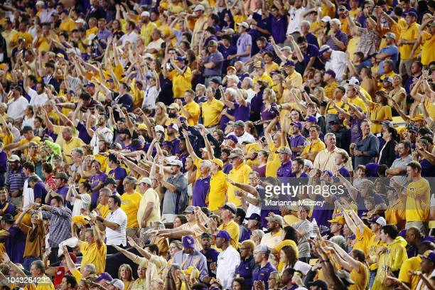 Tigers fans cheer during the game against the Mississippi Rebels at Tiger Stadium on September 29 2018 in Baton Rouge Louisiana