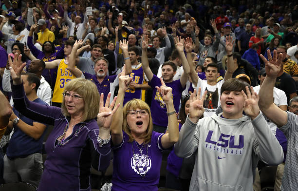 Tigers fans cheer in honor of their 69-67 win over the Maryland Terrapins in the second round of the 2019 NCAA Men's Basketball Tournament at Vystar...