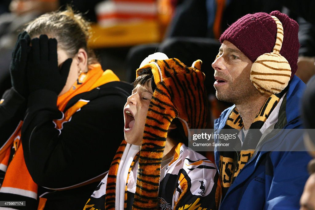 Tigers fans show their emotion during the round 13 NRL match between the Wests Tigers and the Gold Coast Titans at Leichhardt Oval on June 5, 2015 in Sydney, Australia.