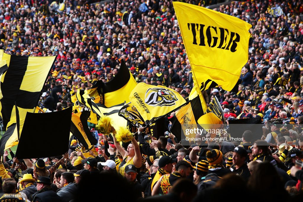 Tigers fans show their support during the 2017 AFL Grand Final match between the Adelaide Crows and the Richmond Tigers at Melbourne Cricket Ground on September 30, 2017 in Melbourne, Australia.