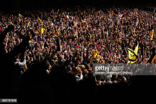 Tigers fans show their support during the 2017 AFL Grand Final match between the Adelaide Crows and the Richmond Tigers at Melbourne Cricket Ground...