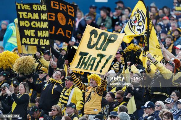 Tigers fans show their support during the round 21 AFL match between the Geelong Cats and the Richmond Tigers at Simonds Stadium on August 12 2017 in...