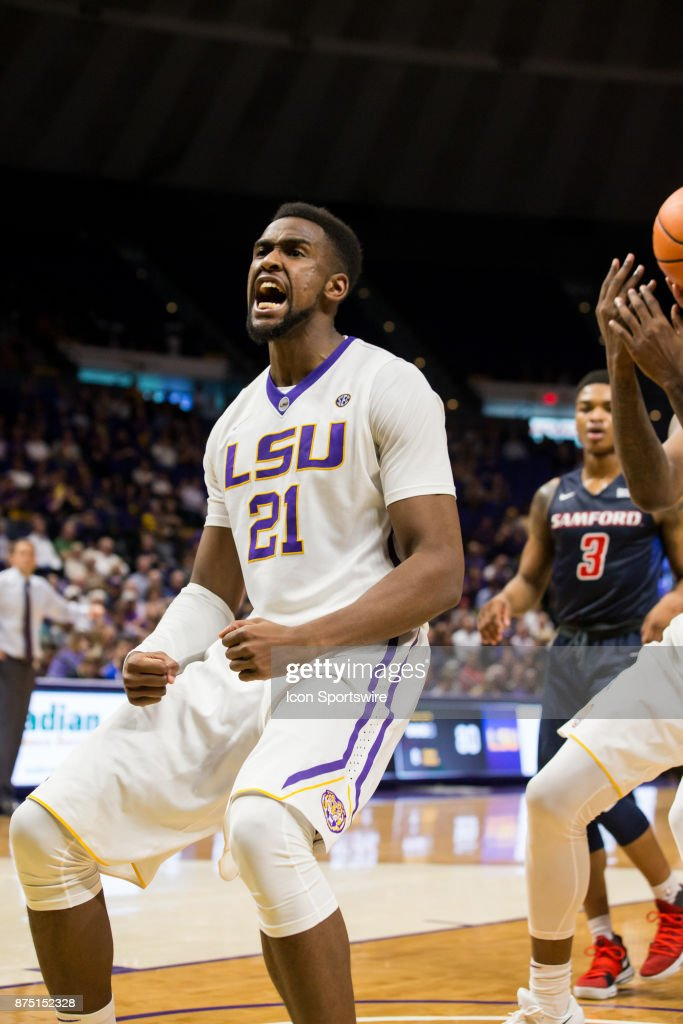 LSU Tigers forward Aaron Epps (21) dunks the ball against Samford Bulldogs during the second half on November 16, 2017 at Pete Maravich Assembly Center in Baton Rouge, LA. LSU Tigers won 105-86.