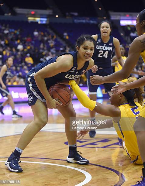LSU Tigers forward Ayana Mitchell tries to strip the ball from Connecticut Huskies guard Gabby Williams on Sunday Nov 20 2016 at Pete Maravich...