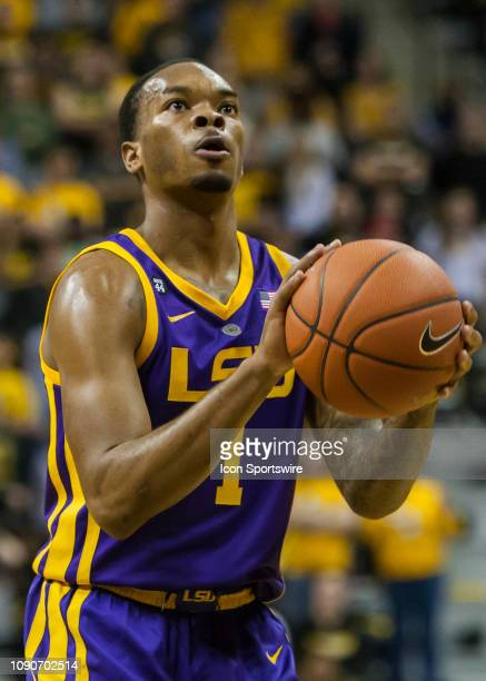 Tigers guard Ja'vonte Smart attempts a free throw during the SEC conference game between the Missouri Tigers and the LSU Tigers on Saturday January...