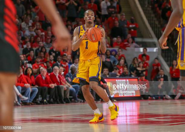 Tigers guard Ja'vonte Smart brings up the ball during the basketball game between the LSU Tigers and Houston Cougars on December 12 2018 at Fertitta...