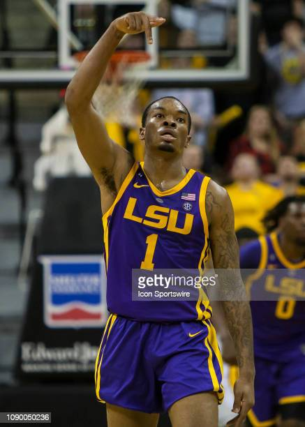 Tigers guard Ja'vonte Smart celebrates a 3 point shot during the SEC conference game between the Missouri Tigers and the LSU Tigers on Saturday...