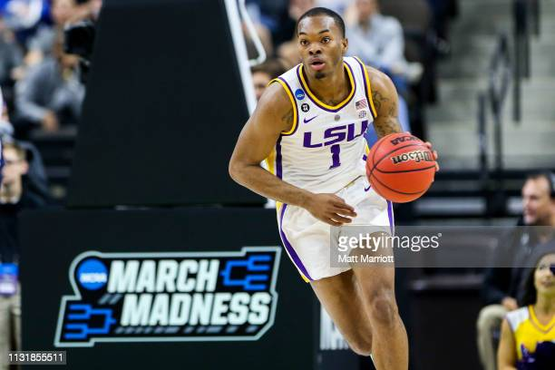 Tigers guard Javonte Smart dribbles the ball against the Yale Bulldogs in the first round of the 2019 NCAA Photos via Getty Images Men's Basketball...