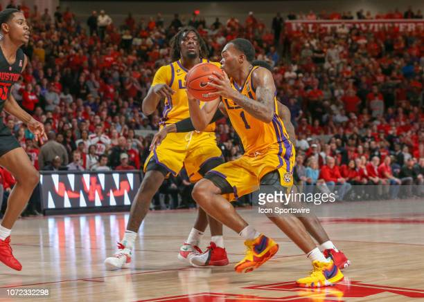 Tigers guard Ja'vonte Smart drives the ball to the basket during the basketball game between the LSU Tigers and Houston Cougars on December 12 2018...