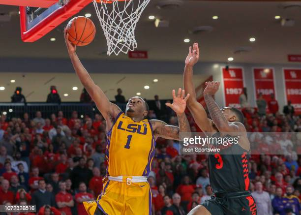 Tigers guard Ja'vonte Smart goes up for a hook shot during the basketball game between the LSU Tigers and Houston Cougars on December 12 2018 at...