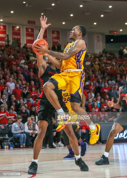 Tigers guard Ja'vonte Smart jumps to make a shot during the basketball game between the LSU Tigers and Houston Cougars on December 12 2018 at...
