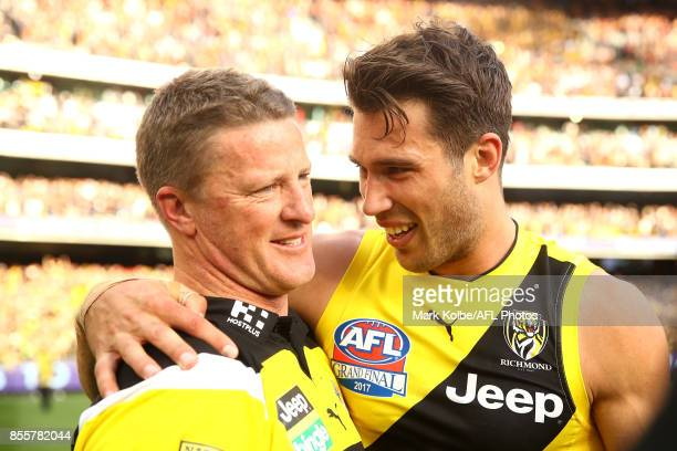 Tigers head coach Damien Hardwick and Alex Rance of the Tigers celebrate victory during the 2017 AFL Grand Final match between the Adelaide Crows and...