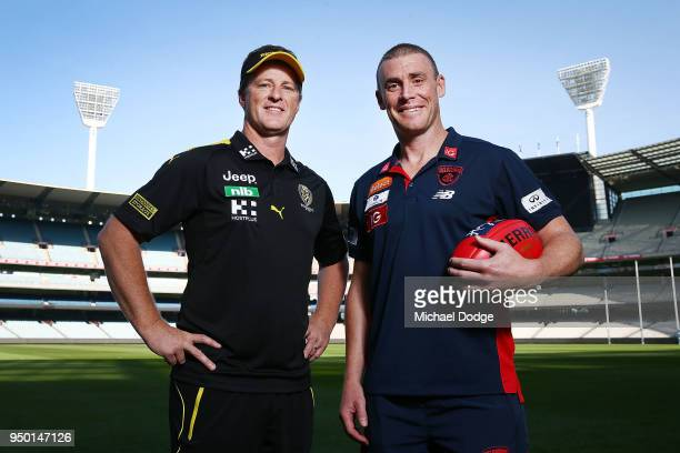 Tigers head coach Damien Hardwick and Demons head coach Simon Goodwin pose during an Melbourne Demons and Richmond Tigers AFL pre match press...