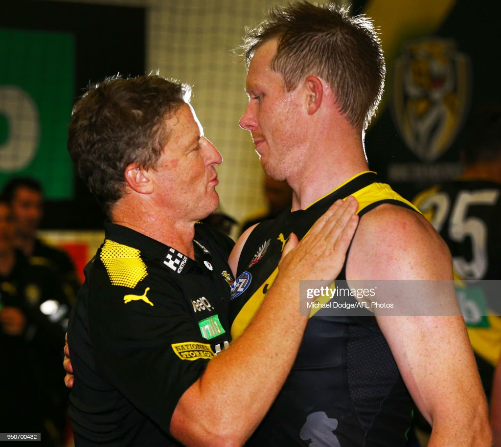 Tigers head coach Damien Hardwick and Jack Riewoldt of the Tigers celebrate the win during the 2018 AFL round five match between the Melbourne Demons and the Richmond Tigers at the Melbourne Cricket Ground at Melbourne Cricket Ground on April 24, 2018 in Melbourne, Australia.