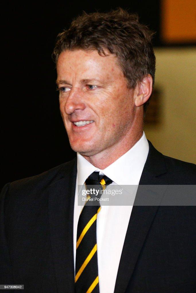Tigers head coach Damien Hardwick arrives at the AFL Tribunal on April 17, 2018 in Melbourne, Australia.