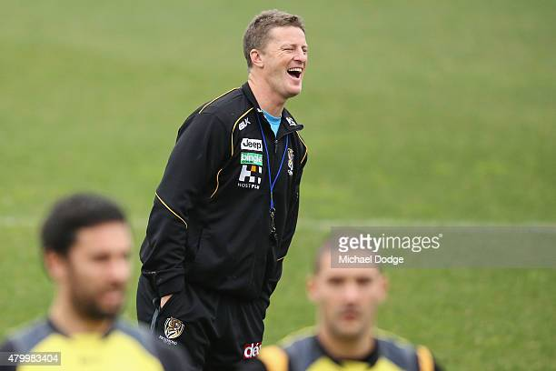 Tigers head coach Damien Hardwick reacts during a Richmond Tigers AFL training session at ME Bank Centre on July 9 2015 in Melbourne Australia