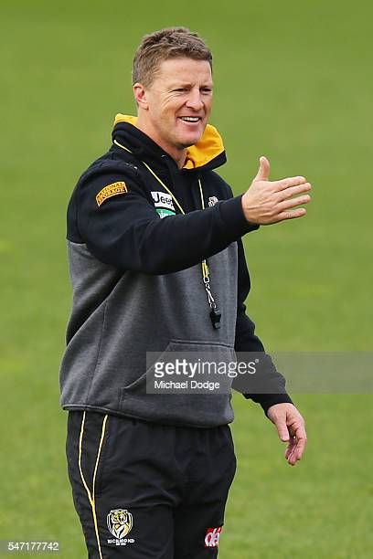 Tigers head coach Damien Hardwick reacts during a Richmond Tigers AFL training session at ME Bank Centre on July 14 2016 in Melbourne Australia