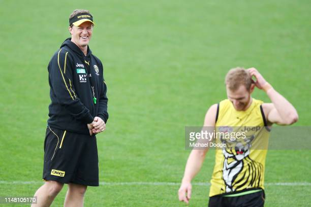 Tigers head coach Damien Hardwick reacts to David Astbury of the Tigers during a Richmond Tigers AFL training session at Punt Road Oval on May 10,...