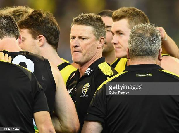 Tigers head coach Damien Hardwick speaks to his players during the round one AFL match between the Richmond Tigers and the Carlton Blues at Melbourne...