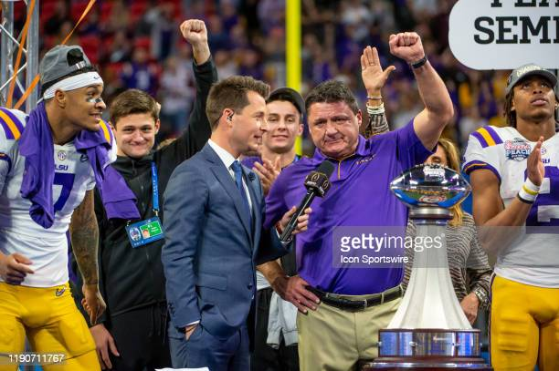 Tigers head coach Ed Orgeron acknowledging the LSU Tigers fans after the College Football Playoffs Semifinal ChickfilA Peach Bowl between the LSU...