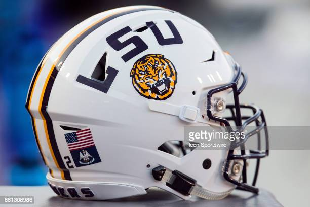 Tigers helmet rests on the sideline during a game between the LSU Tigers and Troy Trojans at Tiger Stadium in Baton Rouge Louisiana on September 30...