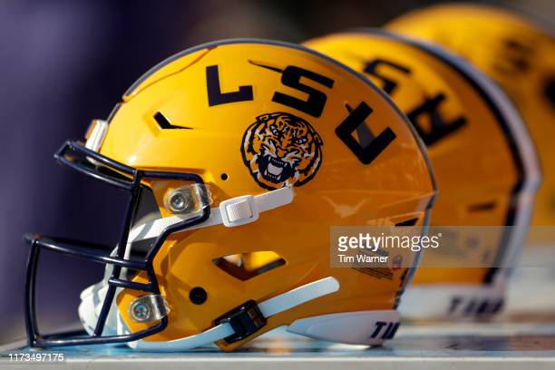 Tigers helmets are seen before the game against the Texas Longhorns at Darrell K RoyalTexas Memorial Stadium on September 7 2019 in Austin Texas
