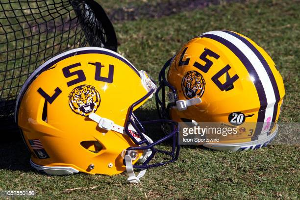 Tigers helmets rest on the sideline during a game between the LSU Tigers and the Georgia Bulldogs on October 13 at Tiger Stadium in Baton Rouge...