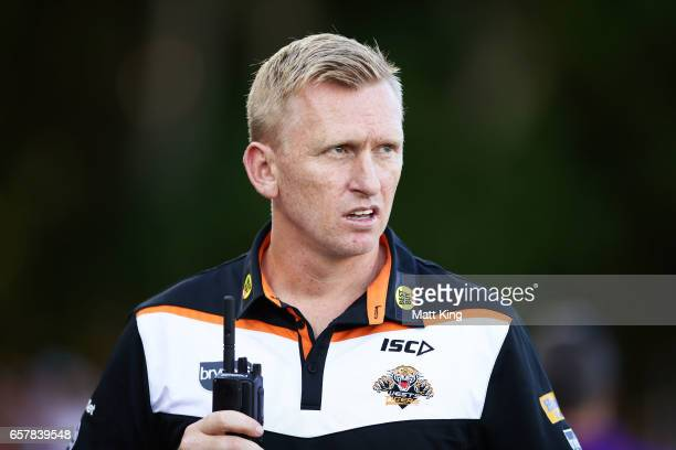 Tigers interim coach Andrew Webster looks on during the round four NRL match between the Wests Tigers and the Melbourne Storm at Leichhardt Oval on...