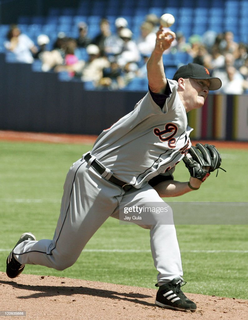 Tigers' Jeremy Bonderman pitches in the Detroit Tigers vs Toronto Blue Jays game at Rogers Centre in Toronto, Canada on August 11, 2005