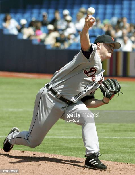 Tigers' Jeremy Bonderman pitches in the Detroit Tigers vs Toronto Blue Jays game at Rogers Centre in Toronto Canada on August 11 2005