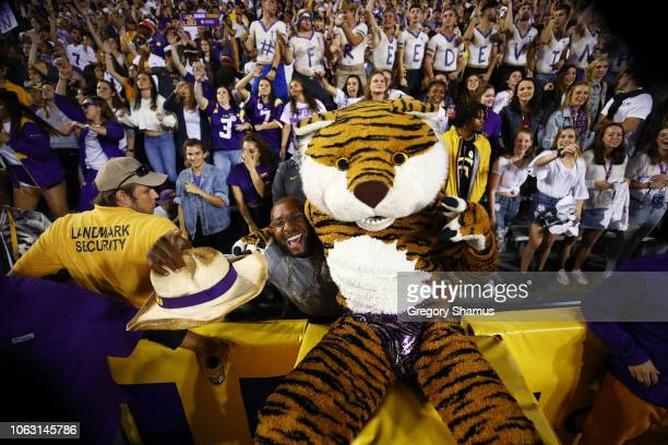 Tigers mascot Mike the Tiger performs against the Alabama Crimson Tide during their game at Tiger Stadium on November 03 2018 in Baton Rouge Louisiana