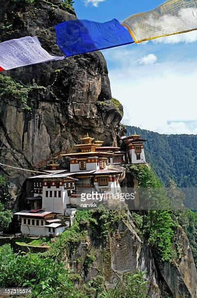 """""""tiger's nest"""" (taktshang) monastery in bhutan - paro stock photos and pictures"""