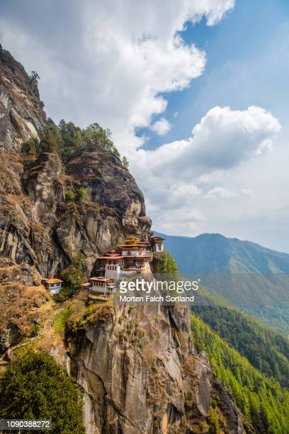 tiger's nest monastery in paro, bhutan springtime - bhutan stock pictures, royalty-free photos & images