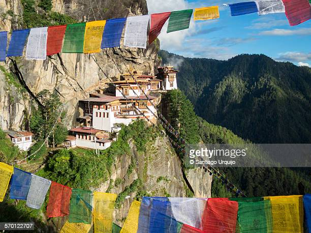 Tiger's Nest Monastery with prayer flags