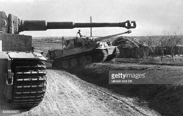 Tigers of the armored division Großdeutschland in combat position on a runway near Jassy April 1944