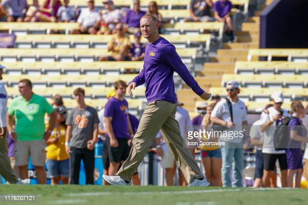 Tigers passing game coordinator Joe Brady before the game between the LSU Tigers and Utah State Aggies at LSU Tiger Stadium on October 5 2019 in...