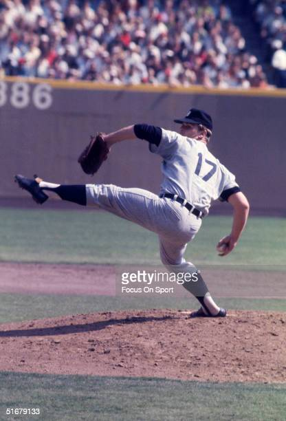 Tigers pitcher Dennny McLain pitches during the World Series against the St Louis Cardinals at Busch Stadium in St Louis Missouri in October 1968