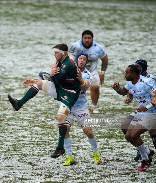 Tigers player Brendon O' Connor takes a high ball under pressure during the European Rugby Champions Cup match between Leicester Tigers and Racing 92...